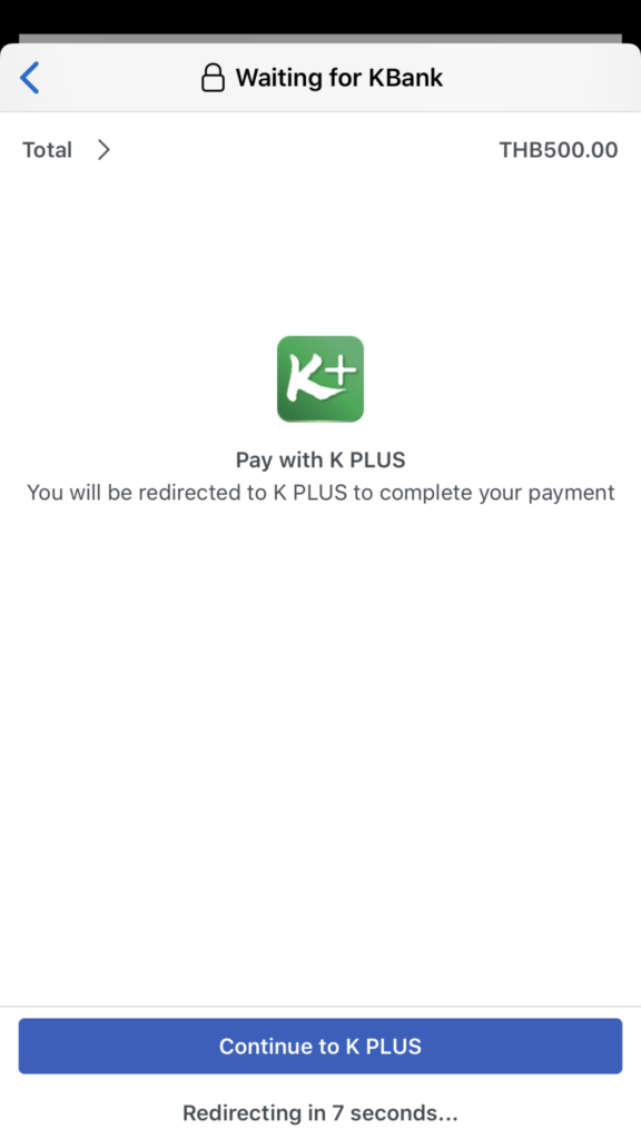 Facebook Payment Pay with K PLUS