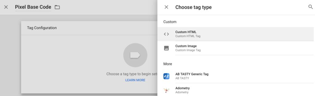 Custom HTML Tag Type in GTM