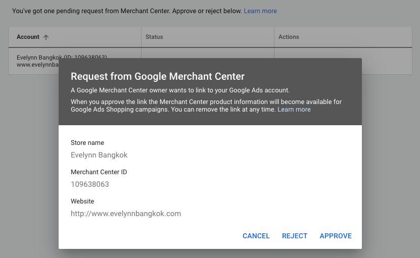 เชื่อมต่อ Google Ads Account เข้ากับ Merchant Center